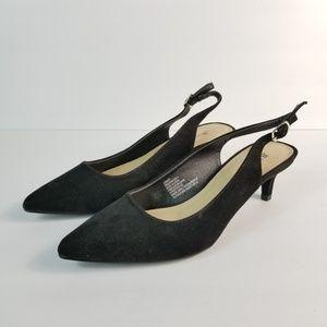 NEW Black Kitten Heel Pointed Toe Faux Suede